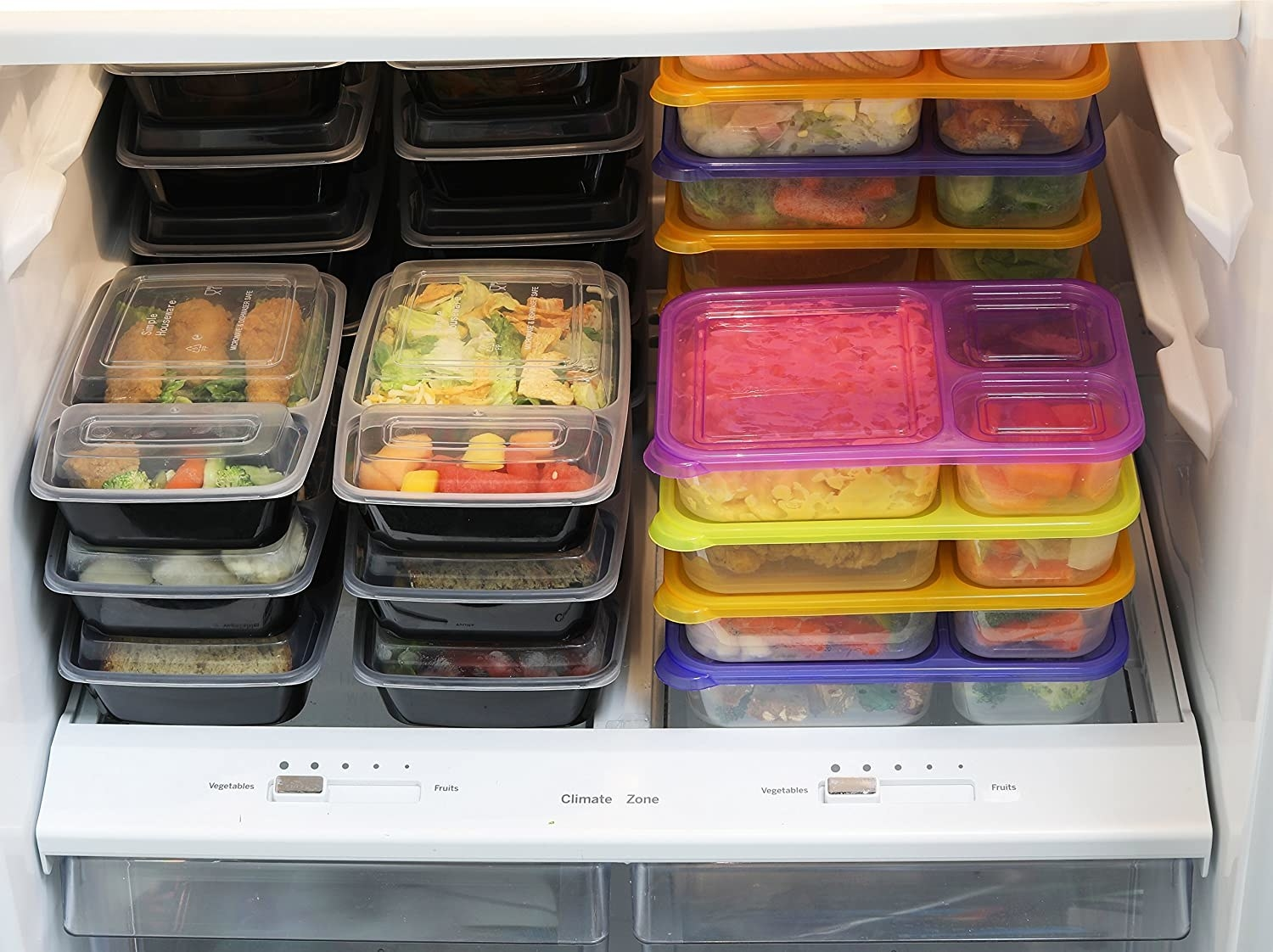 A set of meal prepping containers in a frdige