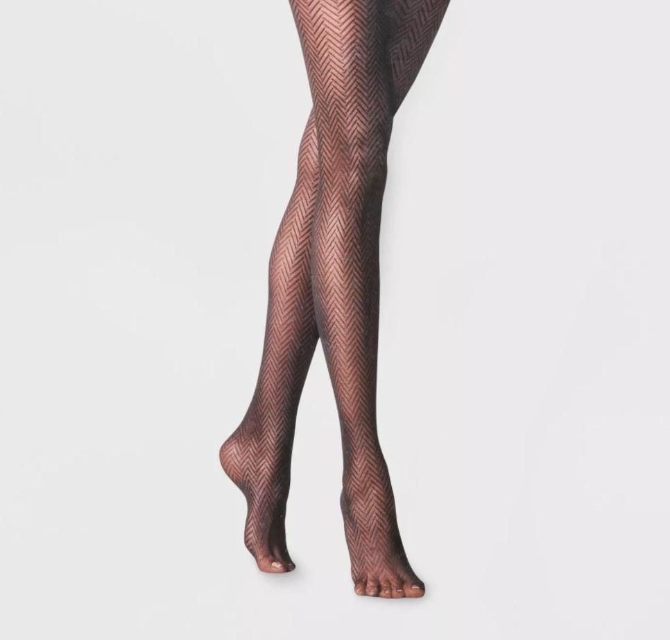 The tights on a model's legs