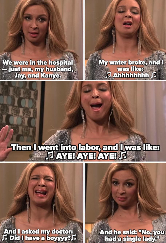Maya Rudolph pretending to be Beyoncé, singing about Blue Ivy's birth