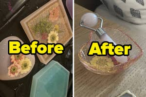 Before and after of a flower filled trinket tray