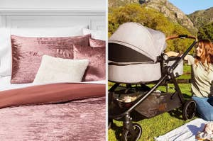 A pink bed set and a gray carriage