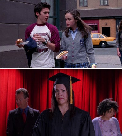 Rory hanging out with Jess and Lorelai walking across the stage at graduation