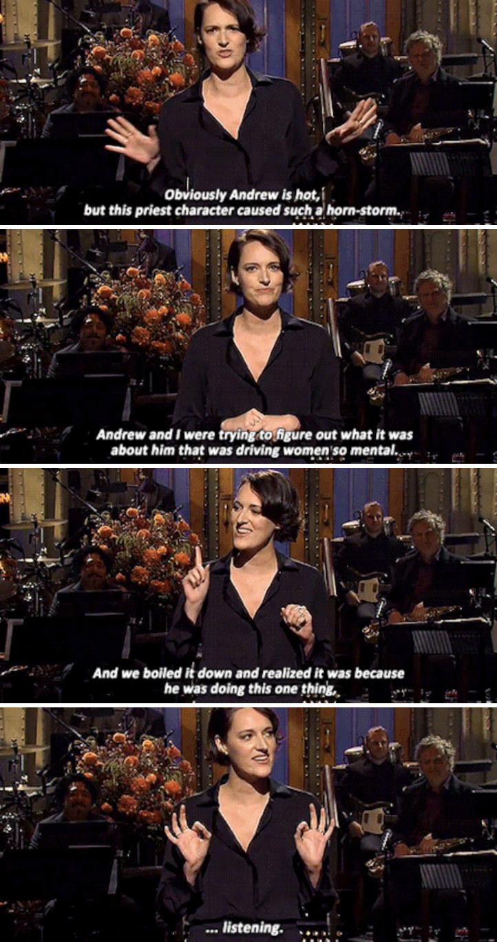 "Phoebe Waller-Bridge giving her monologue on ""SNL"""