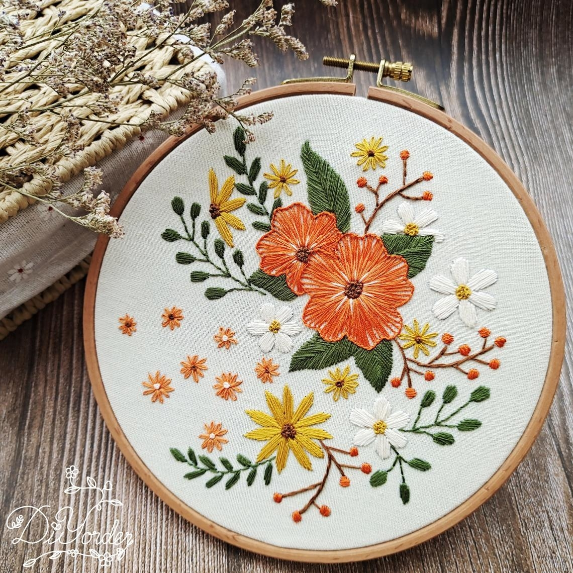 An embroidery hoop with a floral design on the cloth