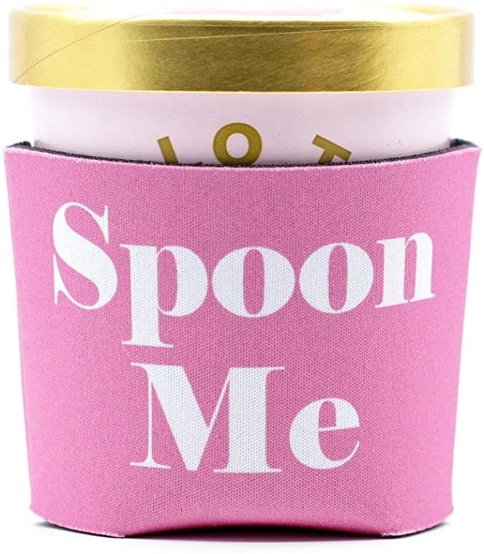 the spoon me cozy in pink with white text