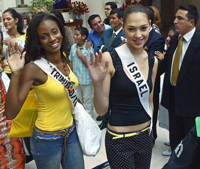 Gal Gadot wearing her Miss Israel sash