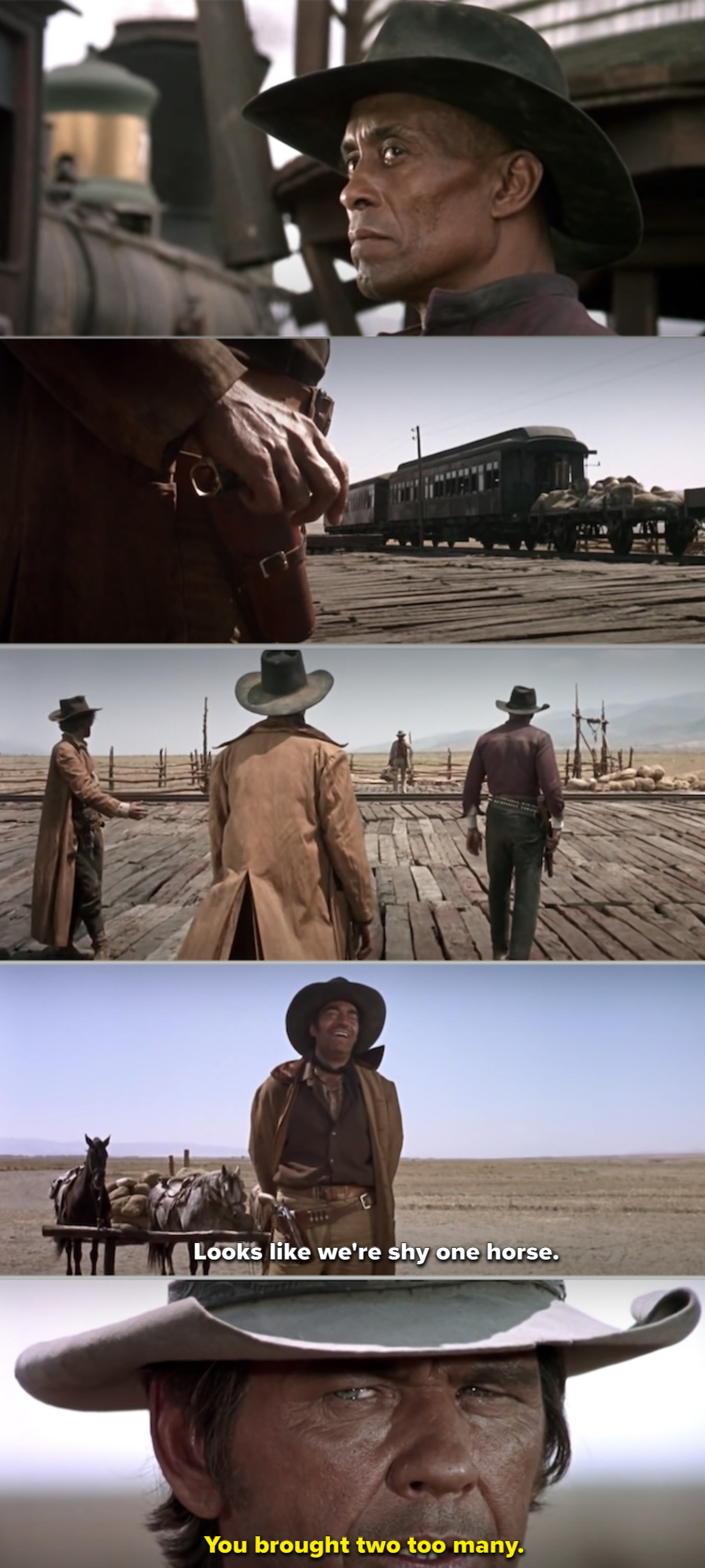The gang preparing for a duel at the train station in the opening shot