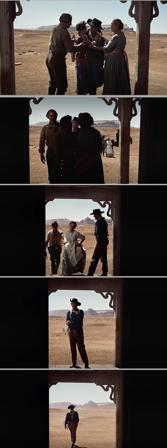 "John Wayne walking away from the house, alone, at the end of ""The Searchers"""