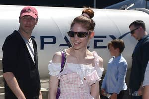 Canadian musician Grimes (Claire Boucher) attends the 2018 Space X Hyperloop Pod Competition, in Hawthorne, California on July 22, 2018