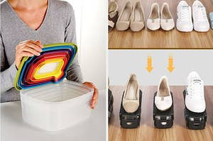 A set of nesting food storage containers, and shoe shelves that halve storage space