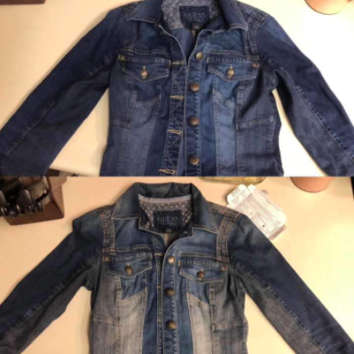 faded jean jacket looking richer after dyed darker blue