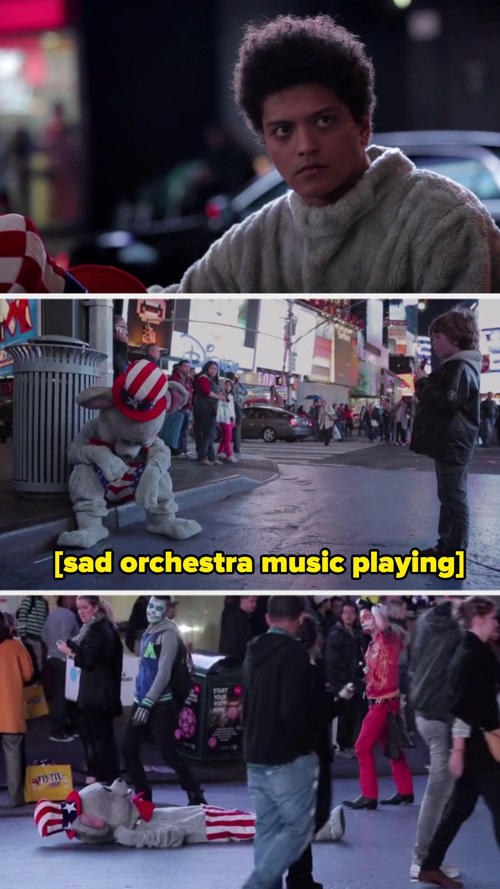Bruno Mars as a sad mouse in Times Square in New York City