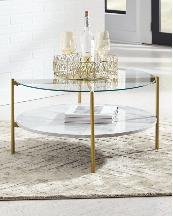 The glass and marble table