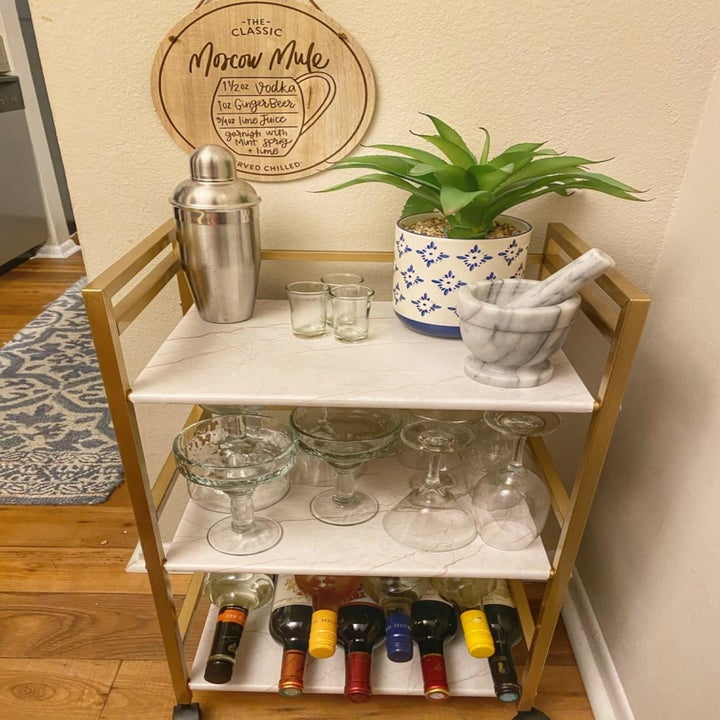 Another reviewer showing cart with marble shelves