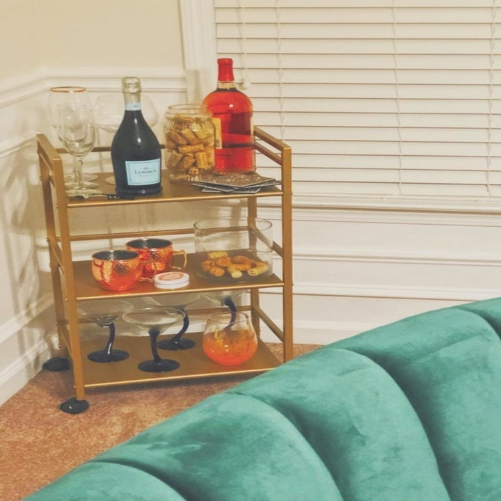 Reviewer image of bar cart in corner of room