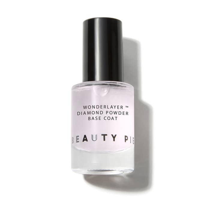 Bottle of clear polish on white background