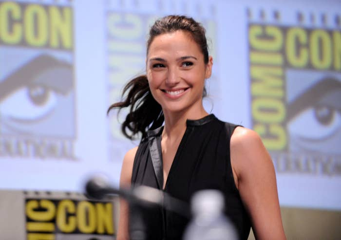 Gal Gadot appearing at a Comic Con panel