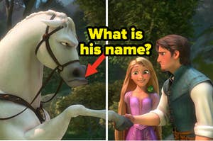 """Mandy Moore as Rapunzel, Zachary Levi as Flynn Rider, and Maximus the horse in the movie """"Tangled."""""""