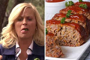 """On the left, Leslie Knope from """"Parks and Rec"""" spitting food out of her mouth, and on the right, slices of meatloaf"""