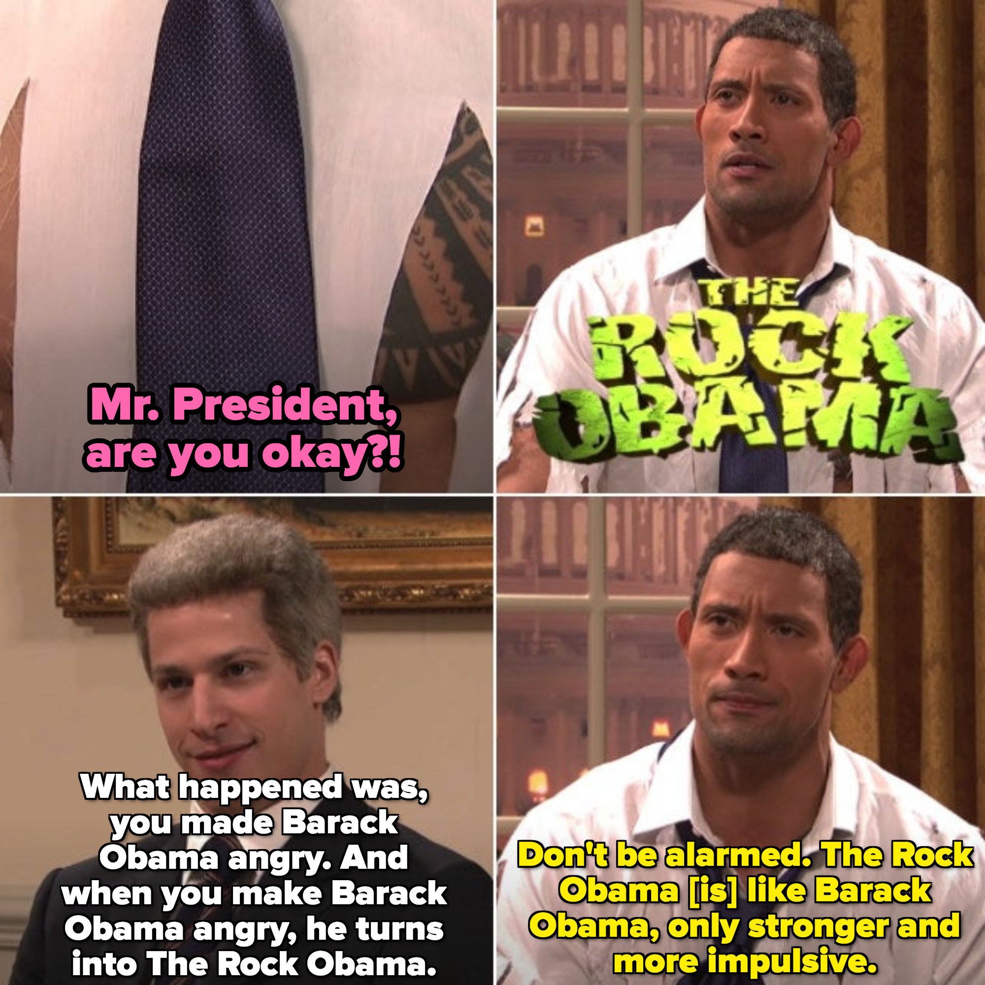 "Dwayne Johnson as Barack Obama in the ""The Rock Obama"" sketch"