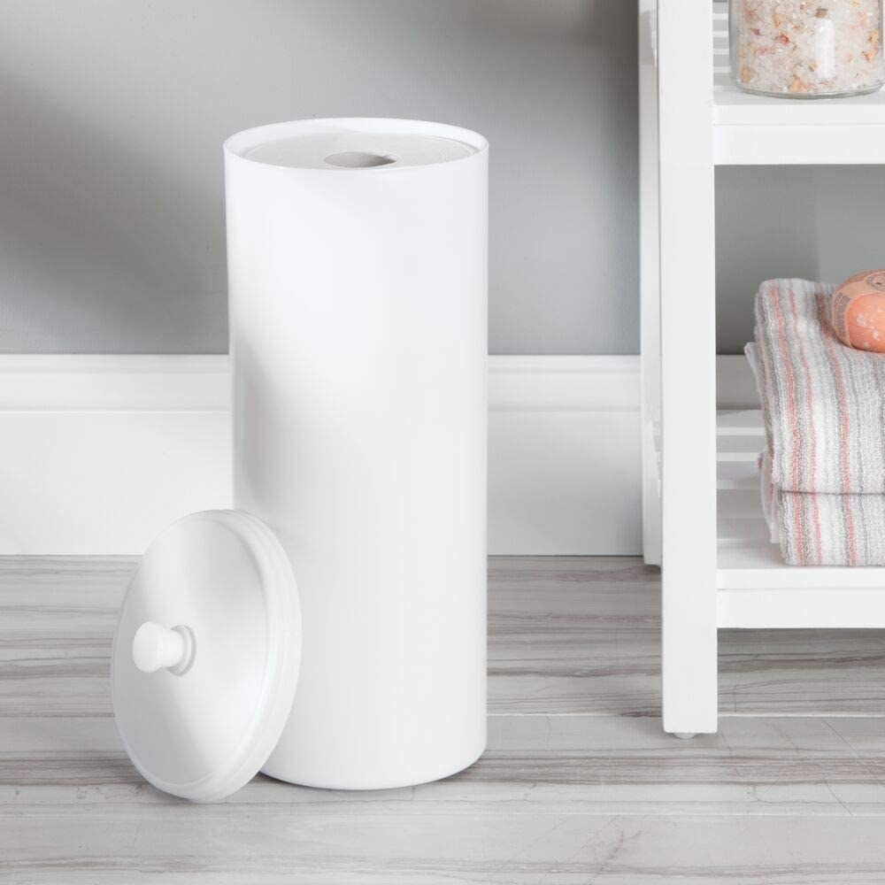 The toilet paper canister in white