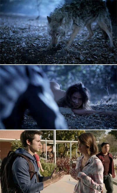 Malia turning from a coyote to a human