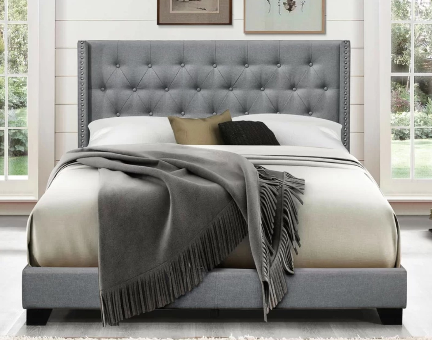 The upholstered low profile bed in gray