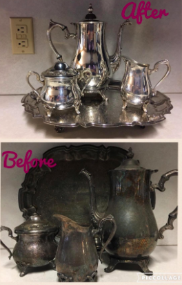 reviewer pic of tea set so tarnished it's dark green then the same tea set looking new thanks to the polish