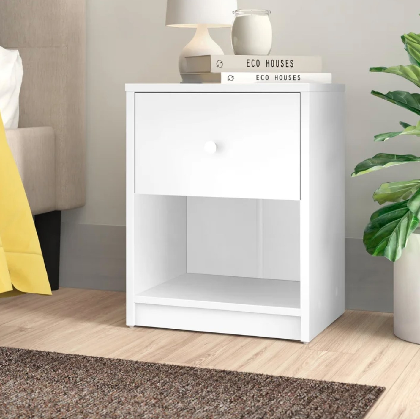 The one drawer nightstand in white