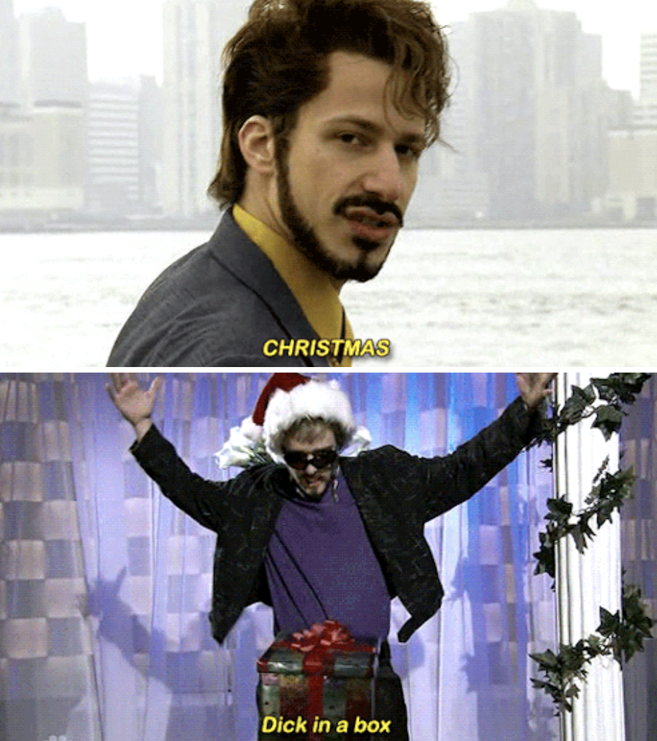 """Justin Timberlake in the """"Dick in a Box"""" sketch with Andy Samberg"""