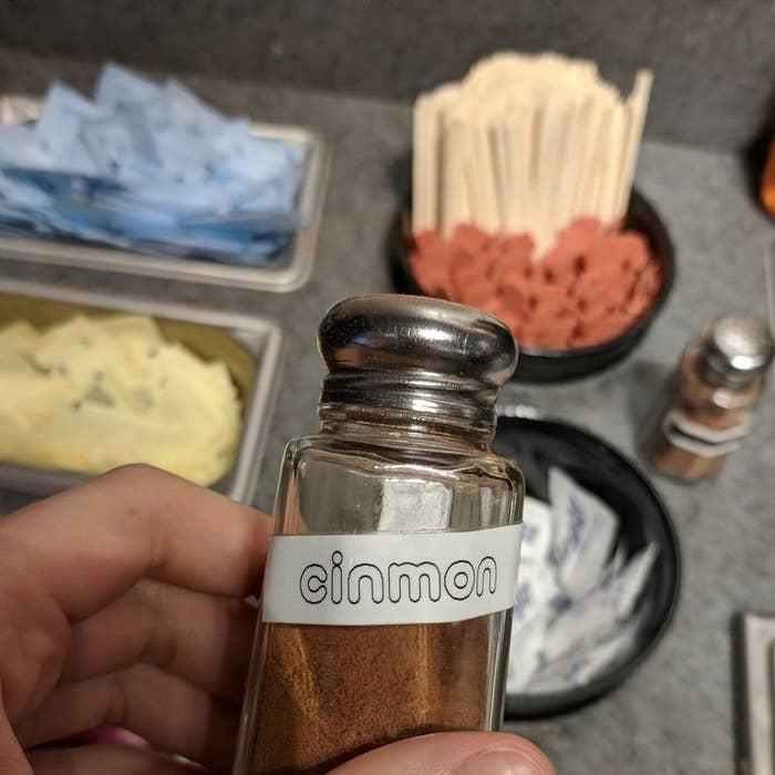cinnamon labeled cinmon