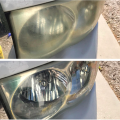 reviewer pic of foggy headlights, then sparkling clear headlights