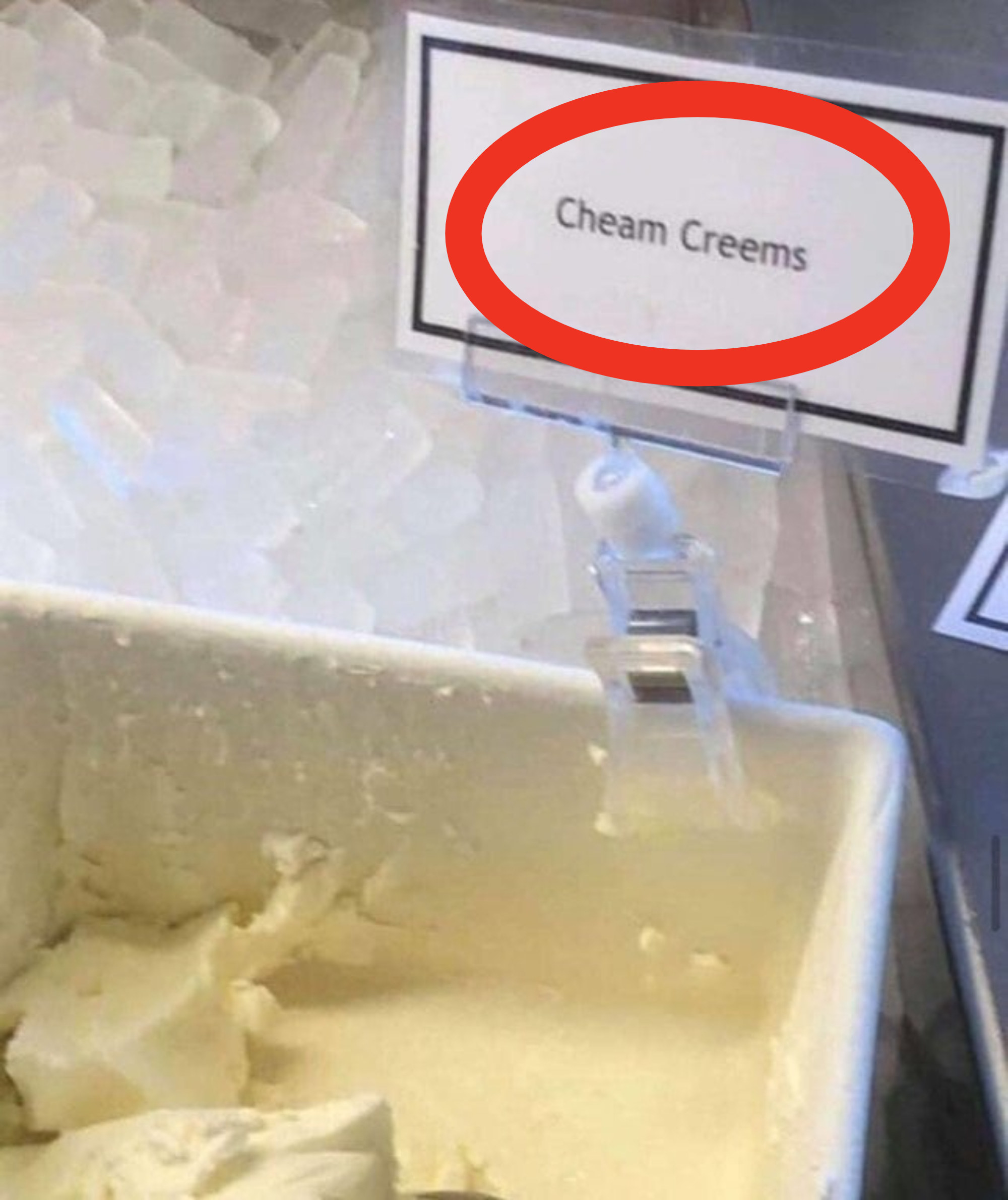 cream cheese label reading cheem creams