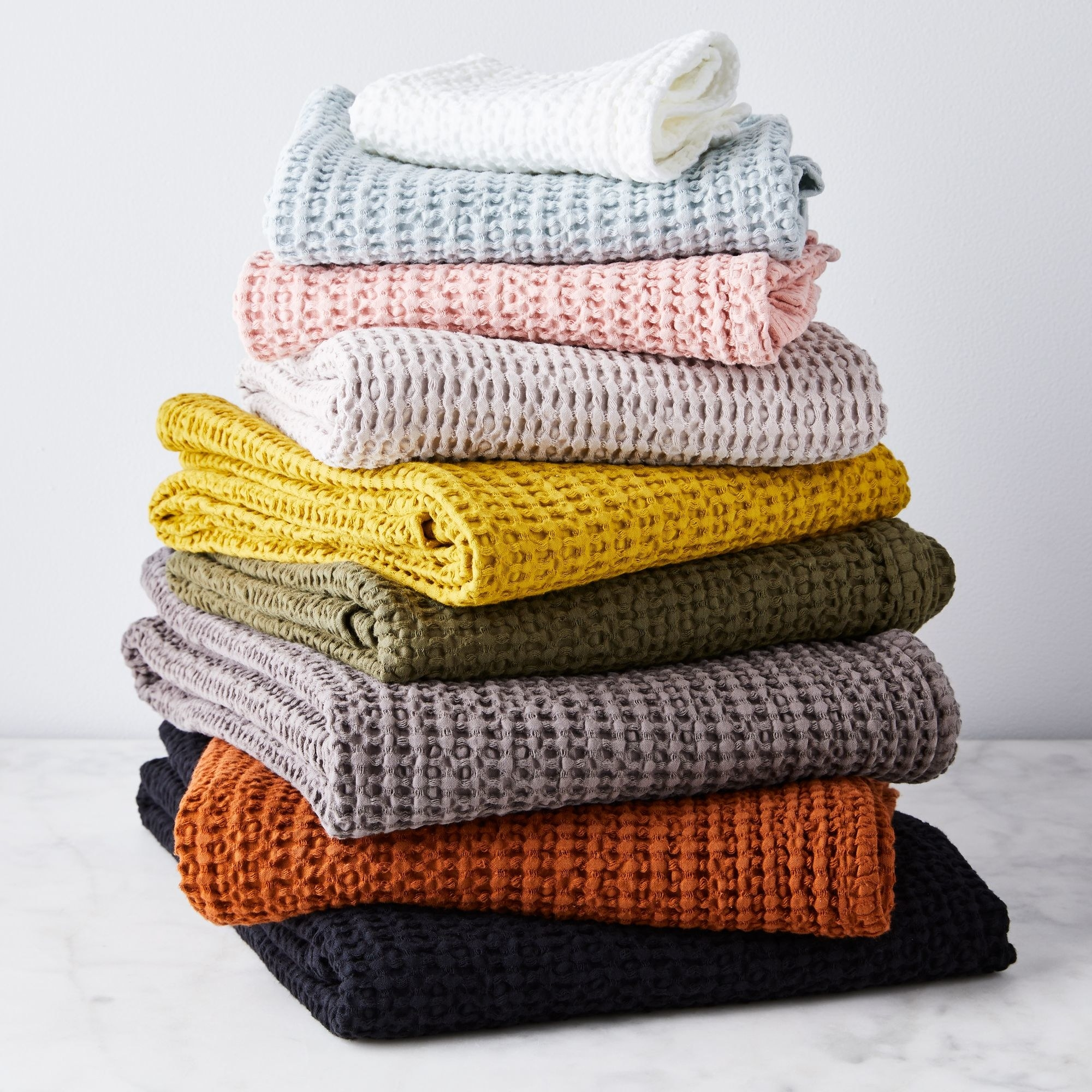 Stack of waffle fabric towels