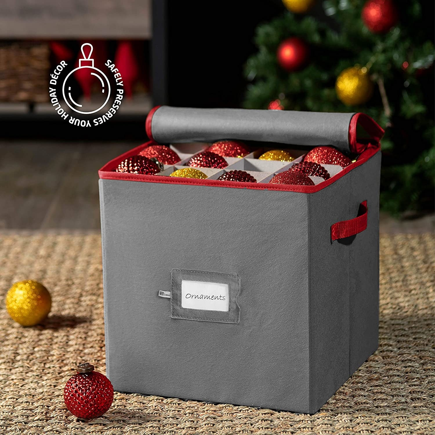 The ornament storage box in gray