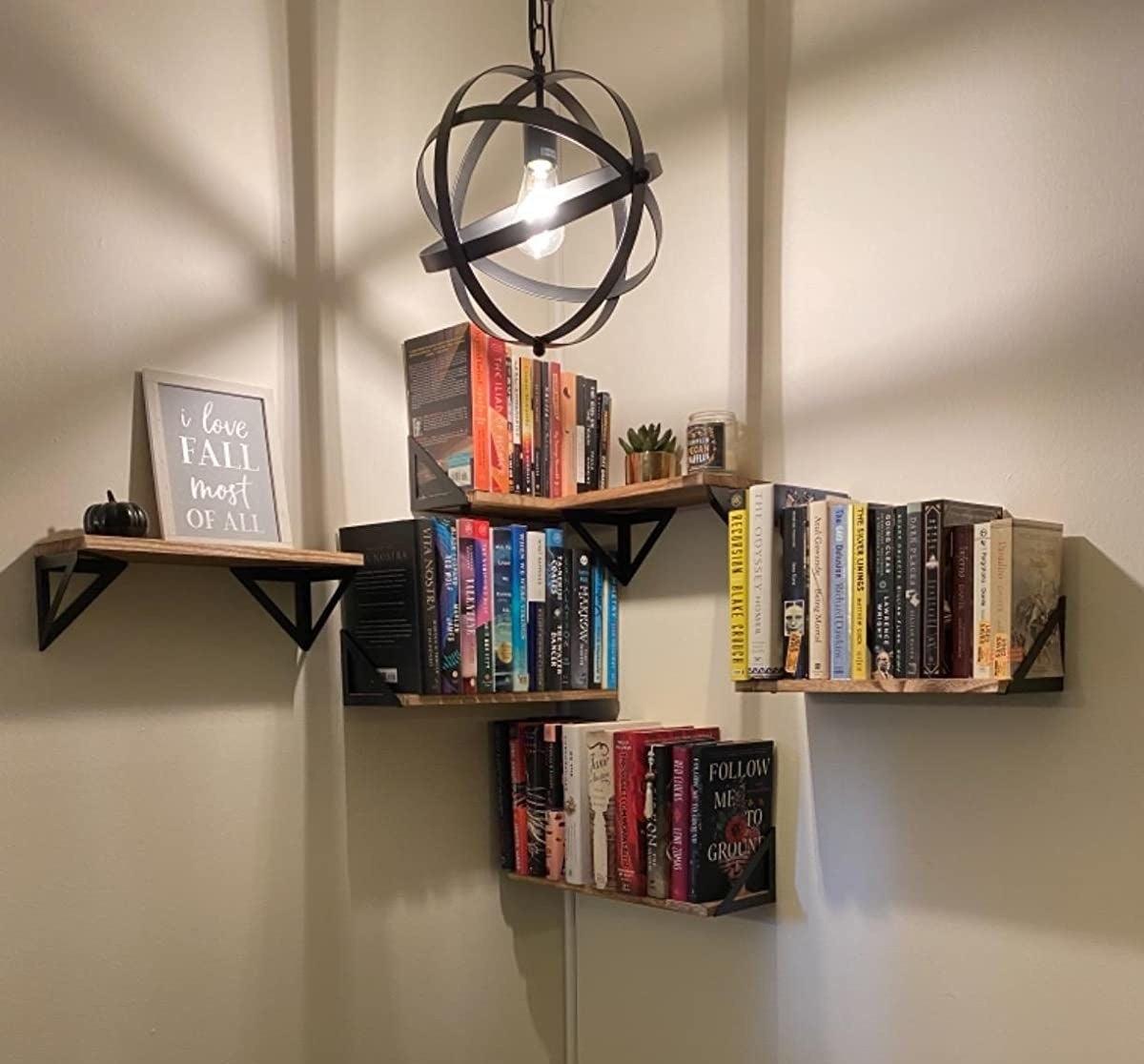 The wooden shelves