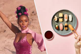 Janelle Monae posing for a music video next to a plate of fresh sushi