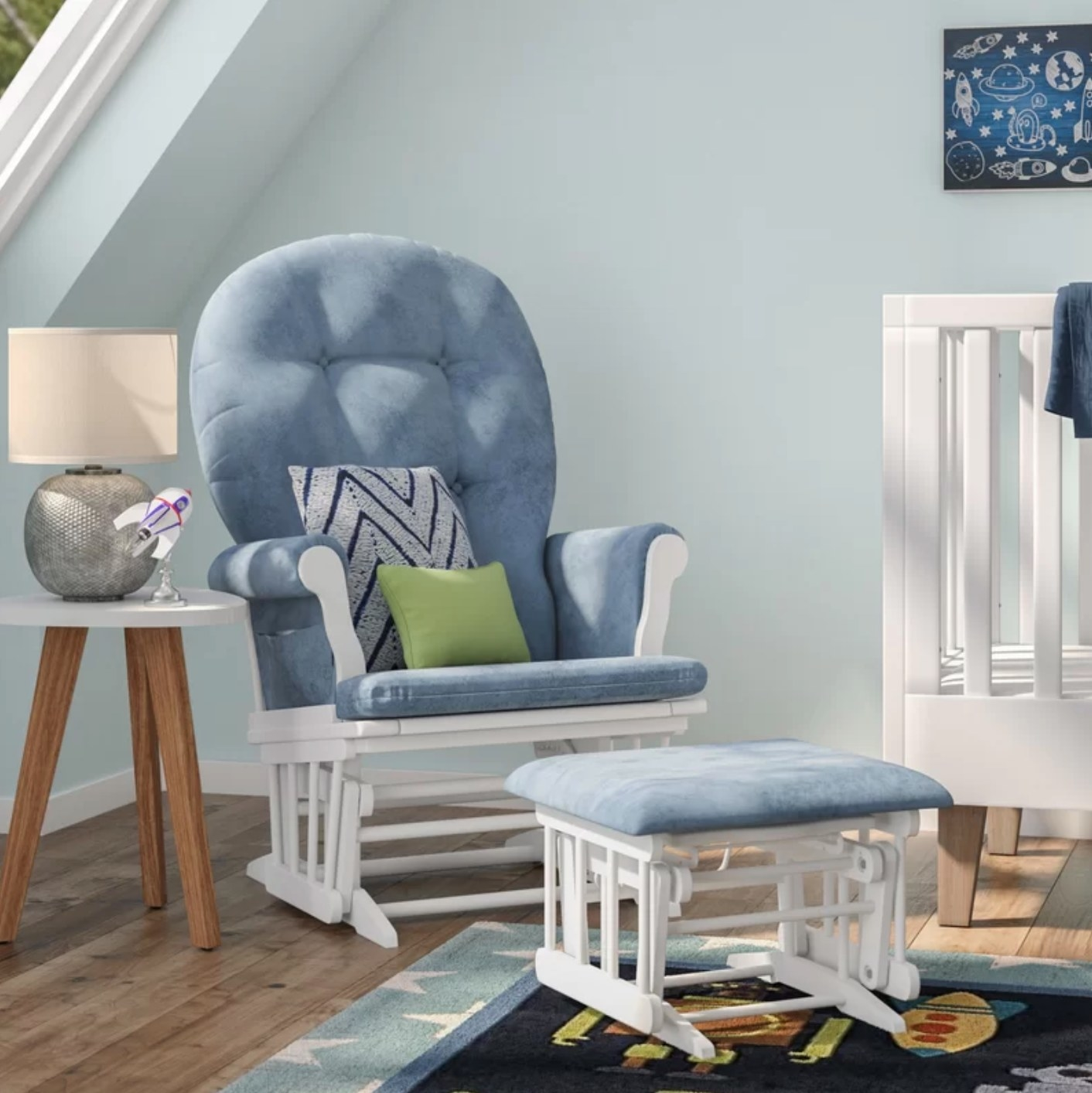 The rocking chair and ottoman in blue and white