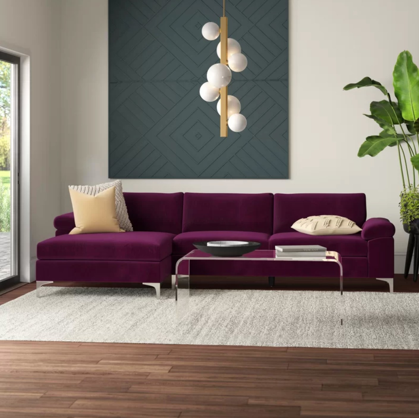 The left hand facing sofa and chaise in purple