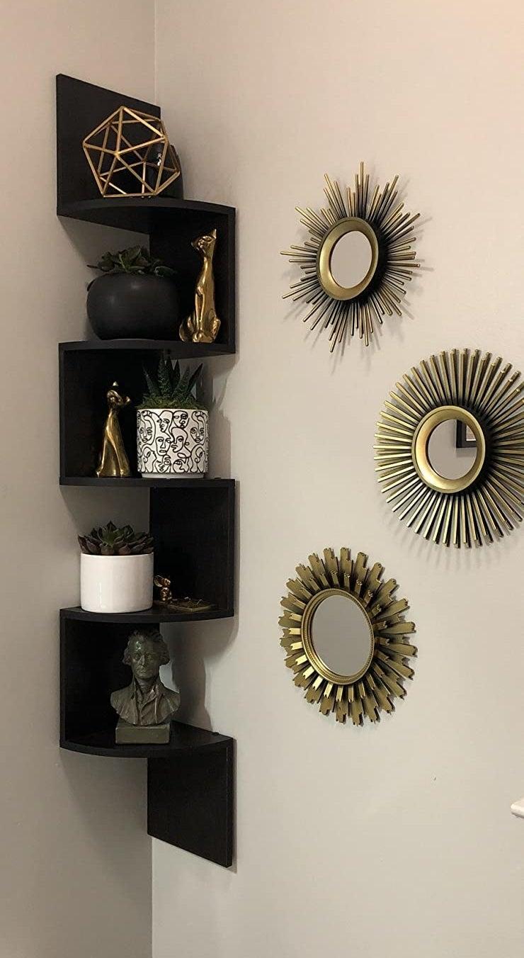 The black shelves