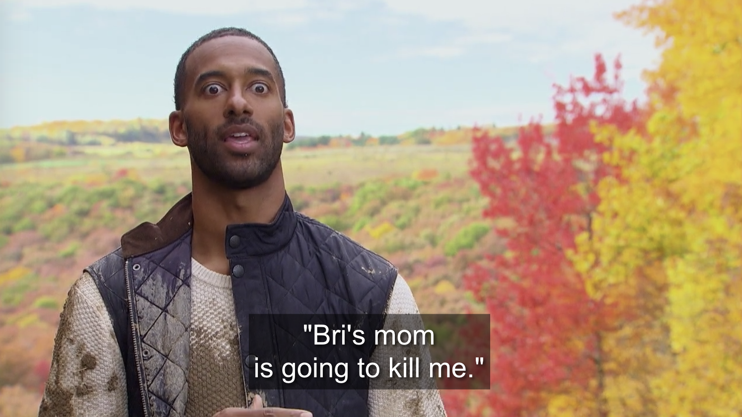 Matt James apologizing to Bri's mom