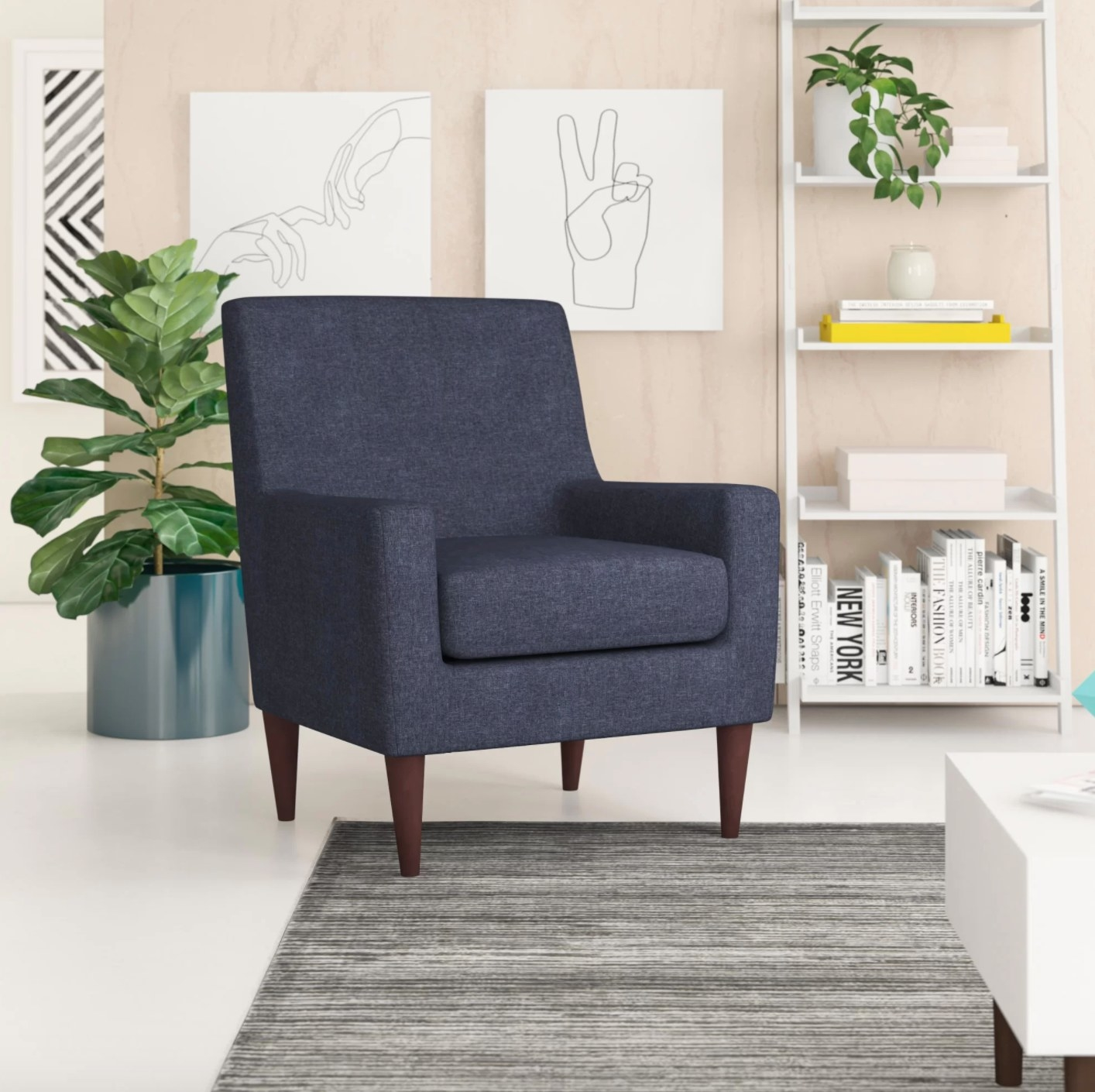 The armchair in navy