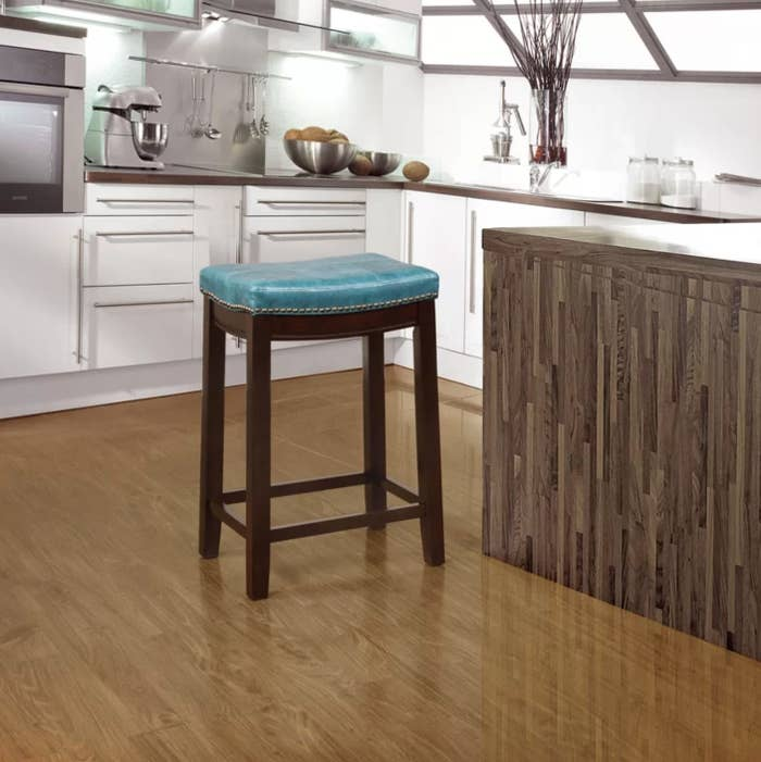 The bar stool in blue