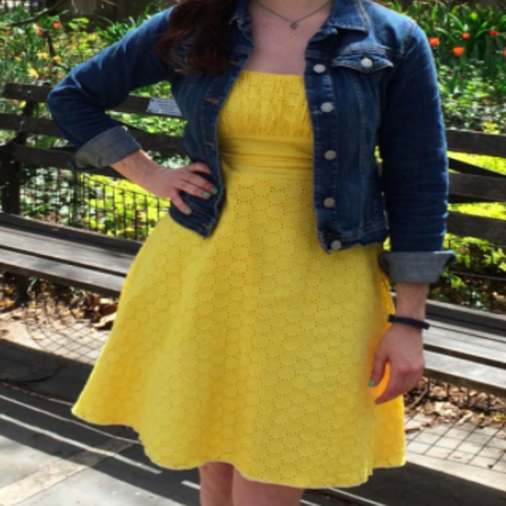 reviewer wearing yellow dress they used the dye to dye from white