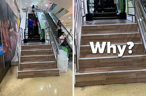 A staircase right before an escalator