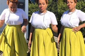 A reviewer wearing a flared yellow skirt