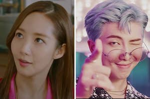 """On the left, a still from the K-drama """"Her Private Life,"""" and on the right, RM from BTS in the """"Dynamite"""" music video"""