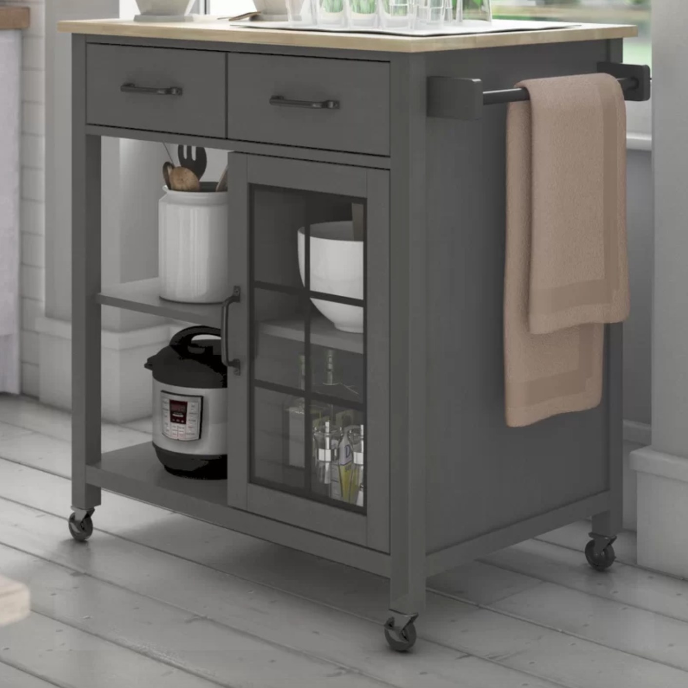 The kitchen cart in gray