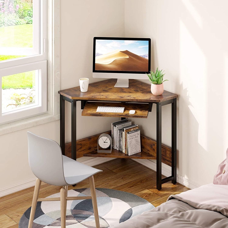 the odk corner desk in the corner of a bedroom