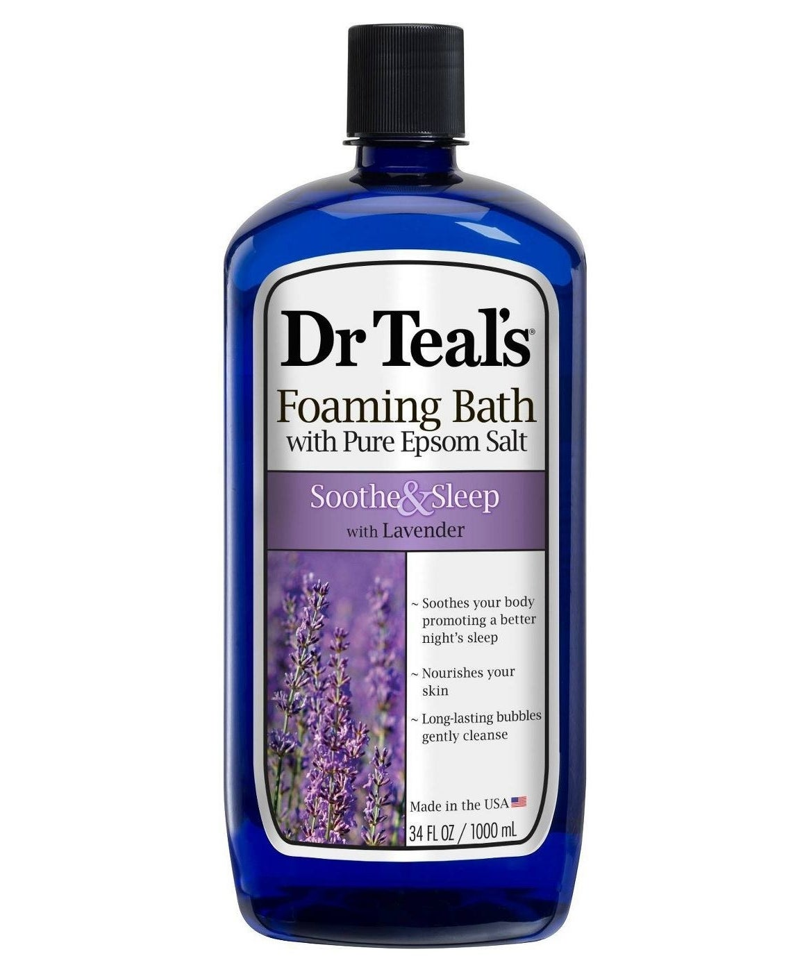 bottle of dr teal's foaming bath with pure epson salt and lavender essense
